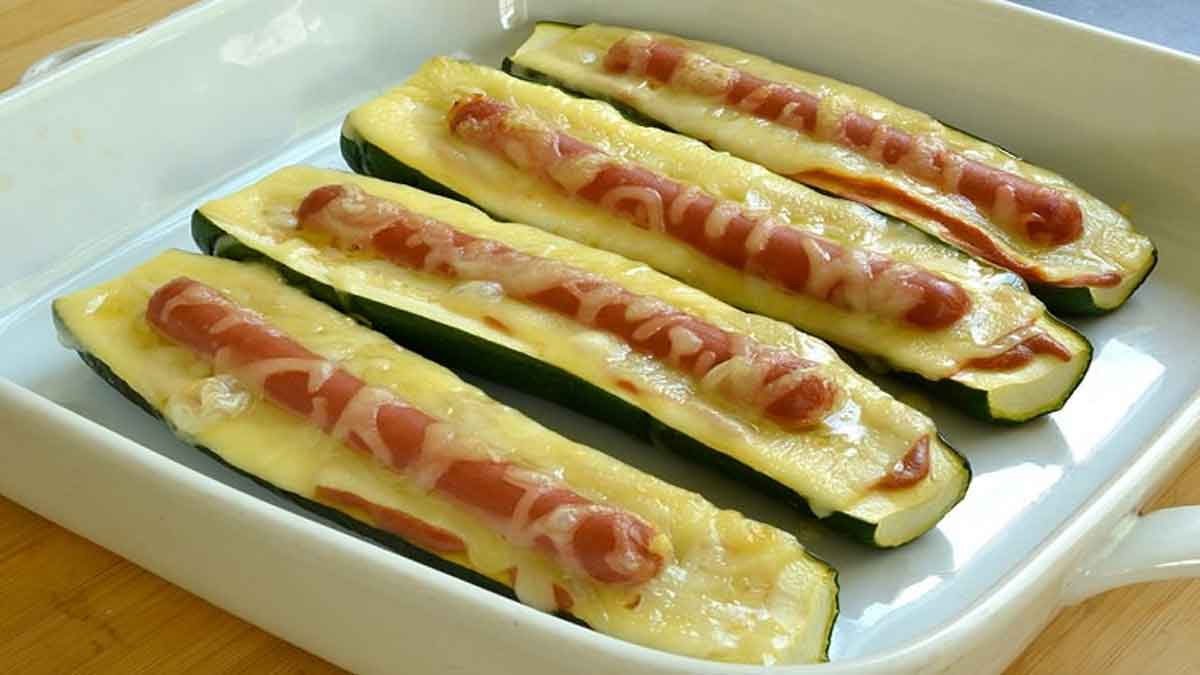 Courgettes hot-dog