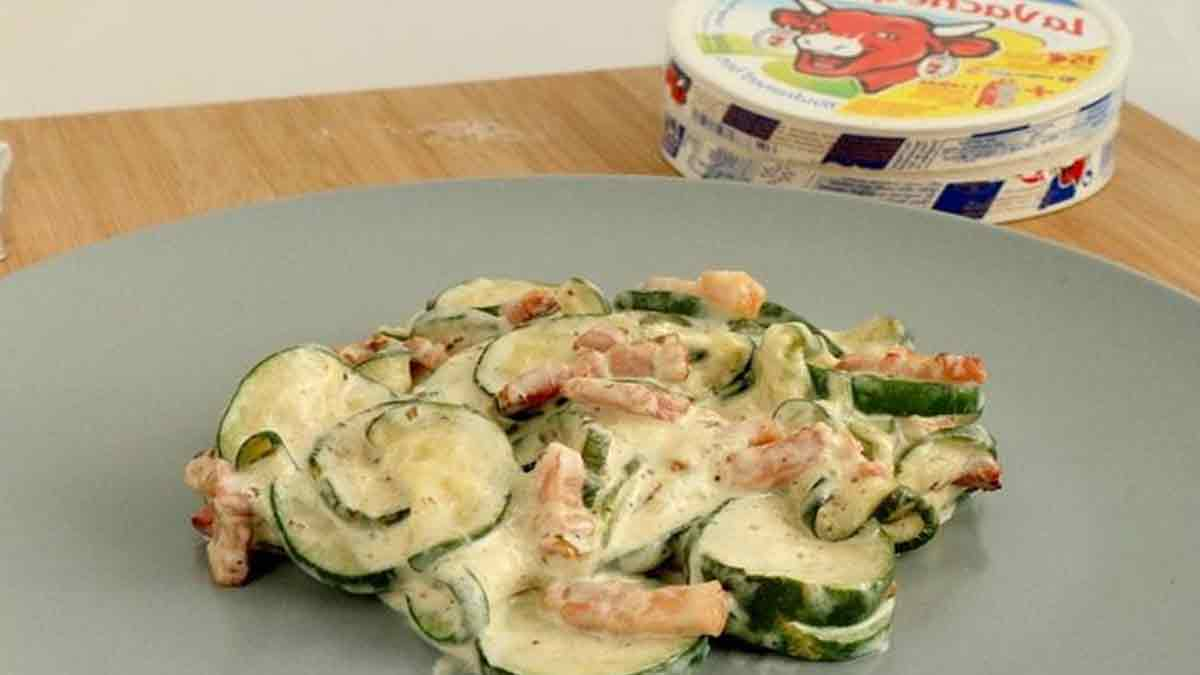 exquises courgettes carbonara au fromage